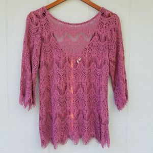 Gimmicks by BKE Full Lace Blouse Purple Low Back M